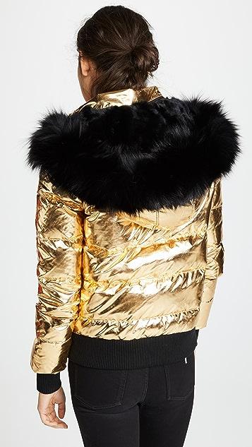 Jocelyn 皮毛饰边绗缝羽绒外套