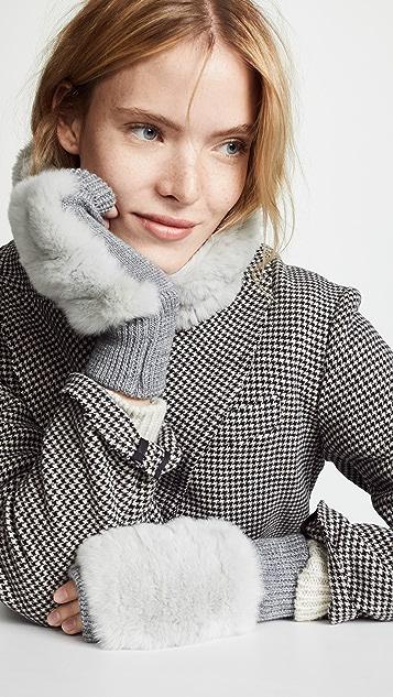 Jocelyn 獭兔垂褶绕脖围巾和手套套装
