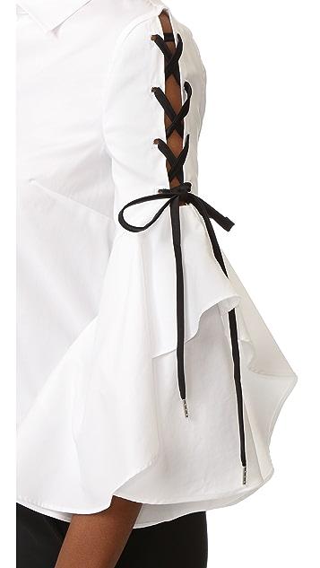 Jonathan Simkhai 系带荷叶边衣袖女式衬衫