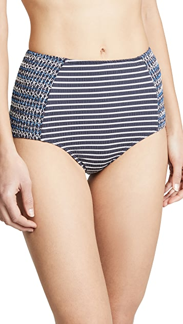 Jonathan Simkhai 条纹抽褶高腰扭褶比基尼泳裤