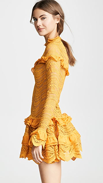 Jonathan Simkhai 雪纺蕾丝荷叶边连衣裙