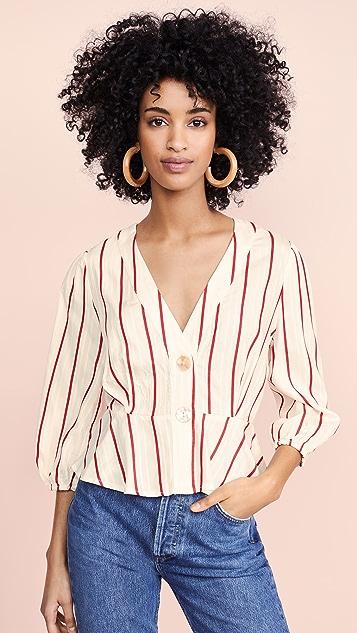 J.O.A.  红色条纹女式衬衫