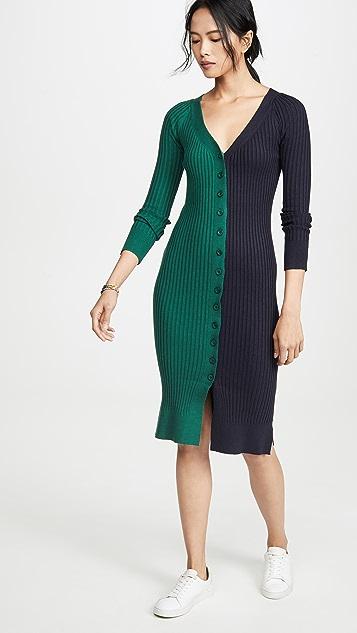 J.O.A.  拼色毛衣连身裙