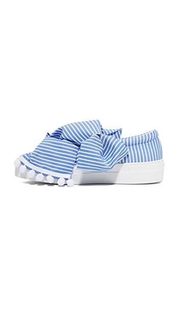 Joshua Sanders 宽条纹蝴蝶结运动便鞋