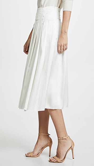 Anais Jourden 缎面褶皱中长裙
