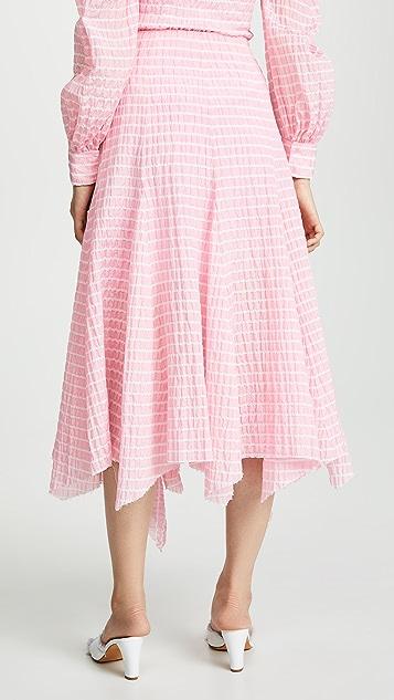 Anais Jourden 条纹荷叶边中长半身裙