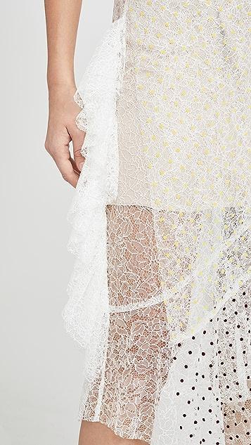 Anais Jourden 白色彩虹双层蕾丝露肩中长连衣裙