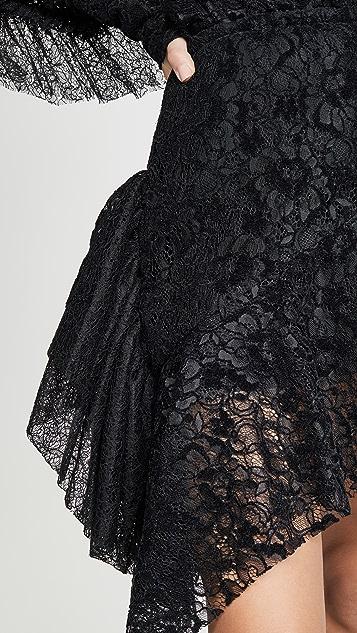 Anais Jourden 黑色天鹅绒蕾丝迷你半身裙