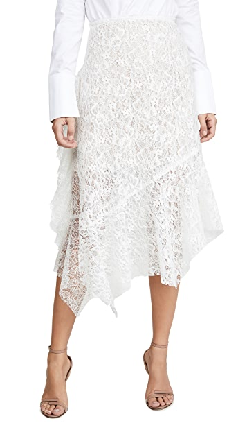 Anais Jourden 白色天鹅绒双蕾丝中长半身裙