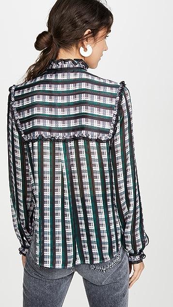 Jason Wu 条纹格子荷叶边女式衬衫