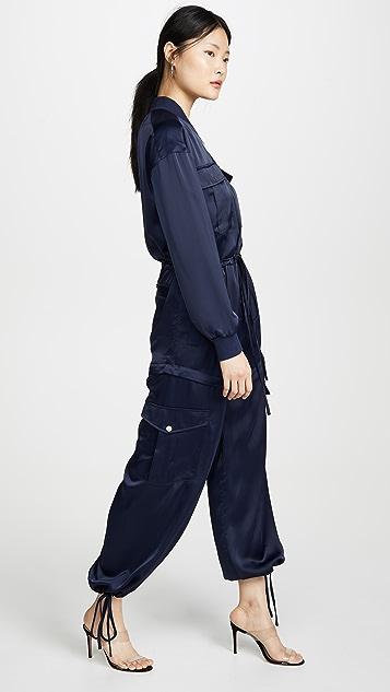 KENDALL + KYLIE 缎面多种穿法工装连体裤