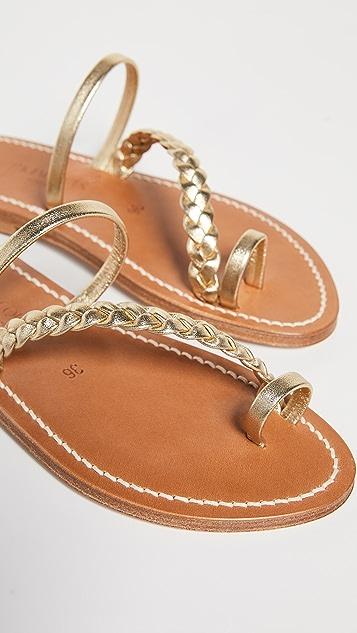 K. Jacques 亮片带趾环凉拖鞋
