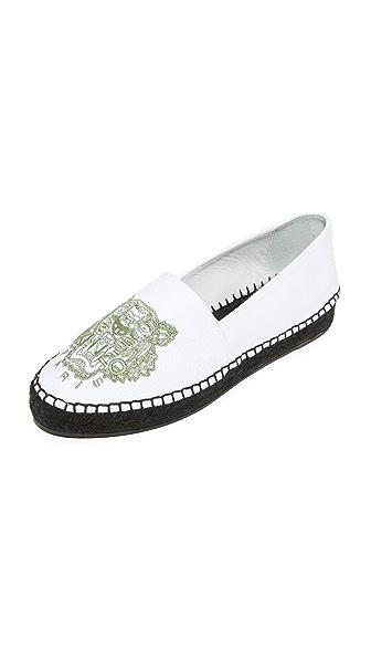 KENZO 老虎图案平底帆布鞋