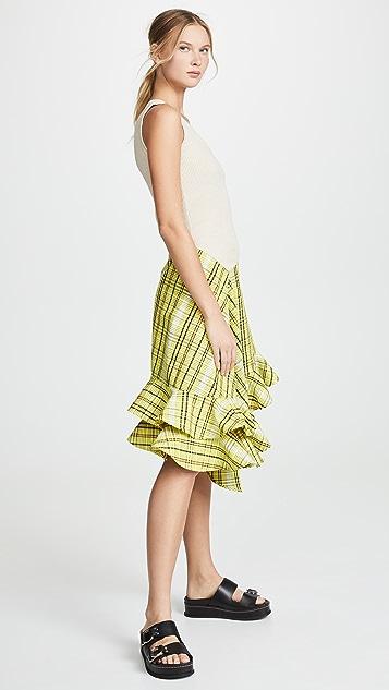 KENZO 不对称荷叶边系带连衣裙