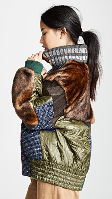 Kolor 混合材质夹棉外套