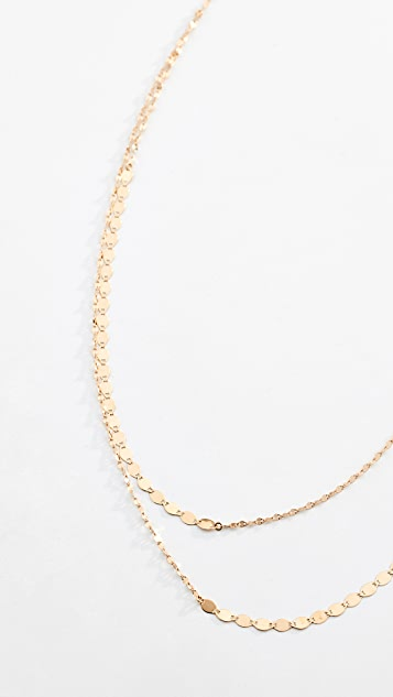 LANA JEWELRY 14K 金裸色双层项链