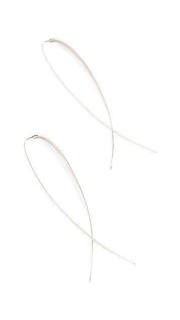 LANA JEWELRY 14K 金细窄扁平翻折圈式耳环