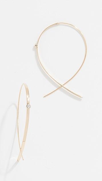 LANA JEWELRY 14K 金小号钻石扁平翻折圈式耳环