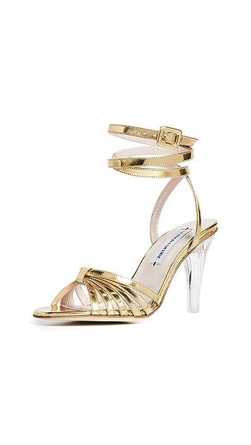 Leandra Medine 网状绑带高跟凉鞋