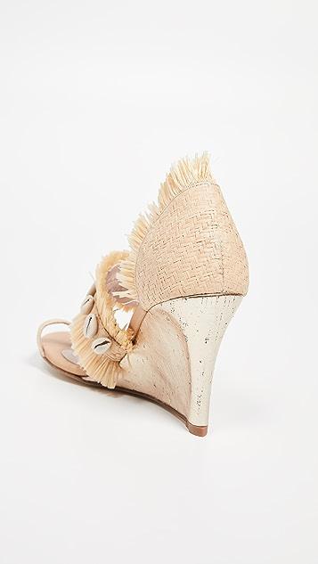 Leandra Medine 草编流苏坡跟凉鞋