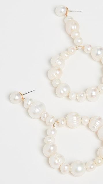 Lele Sadoughi 吊坠圈式淡水养殖珍珠耳环