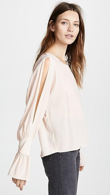L'AGENCE Gianne 镂空袖真丝女式衬衫