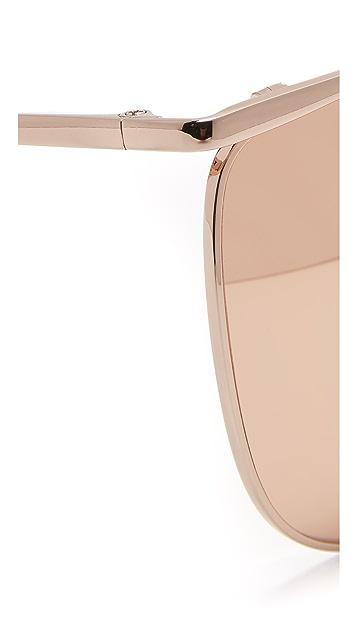 Linda Farrow Luxe 顶部镜框圆形太阳镜
