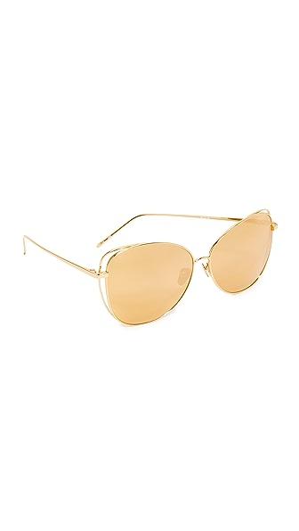 Linda Farrow Luxe 猫咪镜面太阳镜