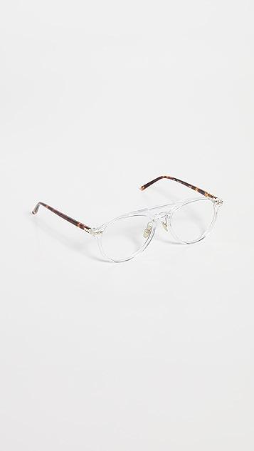 Linda Farrow Luxe 透明醋酸纤维塑料飞行员眼镜