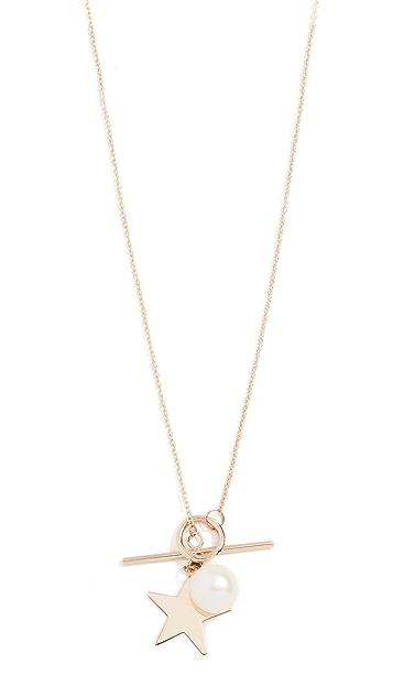 Loren Stewart 14K 星星和珍珠对扣项链