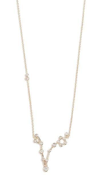 Lulu Frost 14k 金双鱼座白钻项链