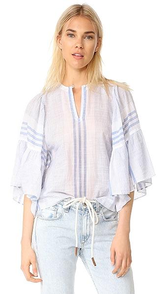 La Vie Rebecca Taylor 短袖杂色条纹上衣