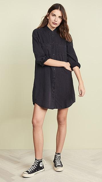 Madewell 牛仔布衬衣式连衣裙