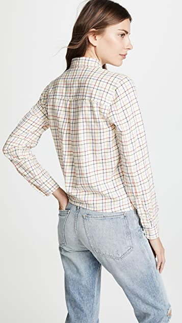 Madewell 彩虹格子前绑带衬衫
