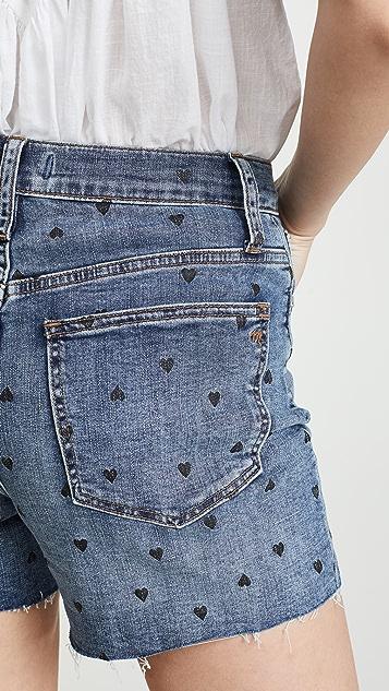 Madewell 高腰牛仔短裤:心形印花版本