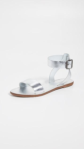 Madewell The Boardwalk 金属质感踝带凉鞋