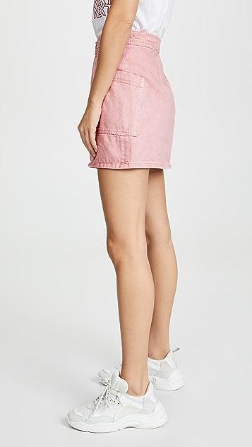 Madewell 硬朗感牛仔布高腰直筒迷你半身裙: 成衣染色贴袋版