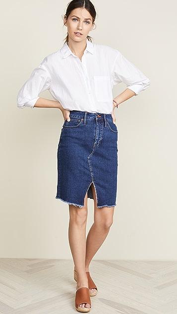 Madewell 靛蓝色镂空半身裙