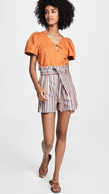 Madewell 彩虹条纹纸包短裤