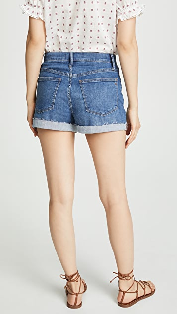 Madewell 德比水洗色高腰牛仔短裤: 前系扣版本
