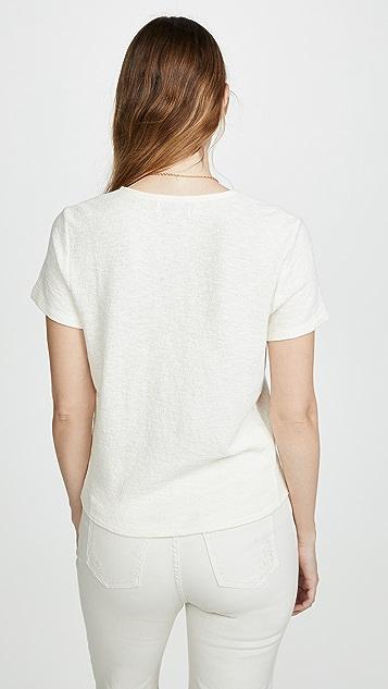 Madewell 时尚 V 领前绑带 T 恤