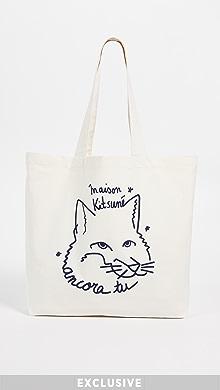 메종 키츠네 '앙코라' 여우 토트백, 에코백 아이보리 Maison Kitsune Ancora Fox Head Classic Tote,Ecru