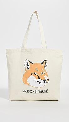 메종 키츠네 폭스 헤드 토트백 Maison Kitsune Fox Head Tote Bag,Ecru
