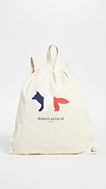 메종 키츠네 트리컬러 폭스 토트 백팩 Maison Kitsune Tricolor Fox Tote Backpack,Ecru