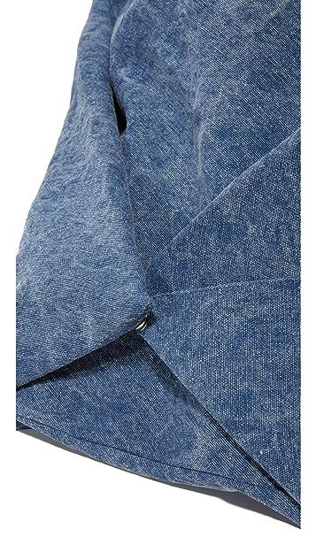MM6 牛仔布半月形单肩包