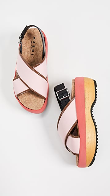 Marni 交叉坡跟凉鞋