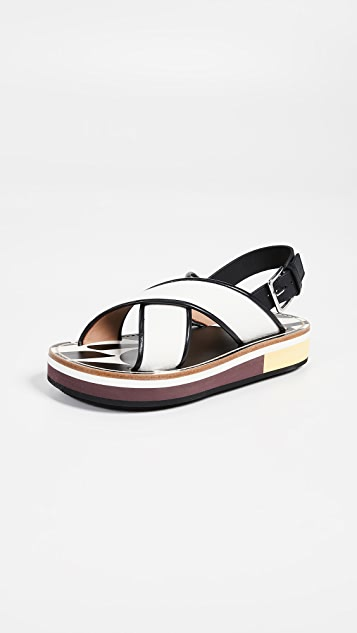Marni 沙滩交叉固定带坡跟鞋
