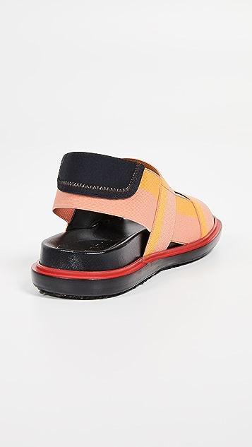 Marni Fussbett 双固定带露跟凉鞋