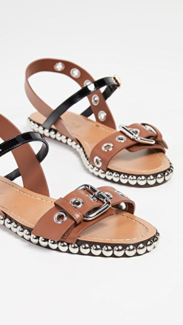Marni 铆钉扁平铆钉凉鞋