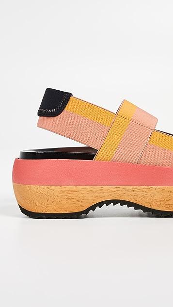 Marni 坡跟双饰带露跟凉鞋